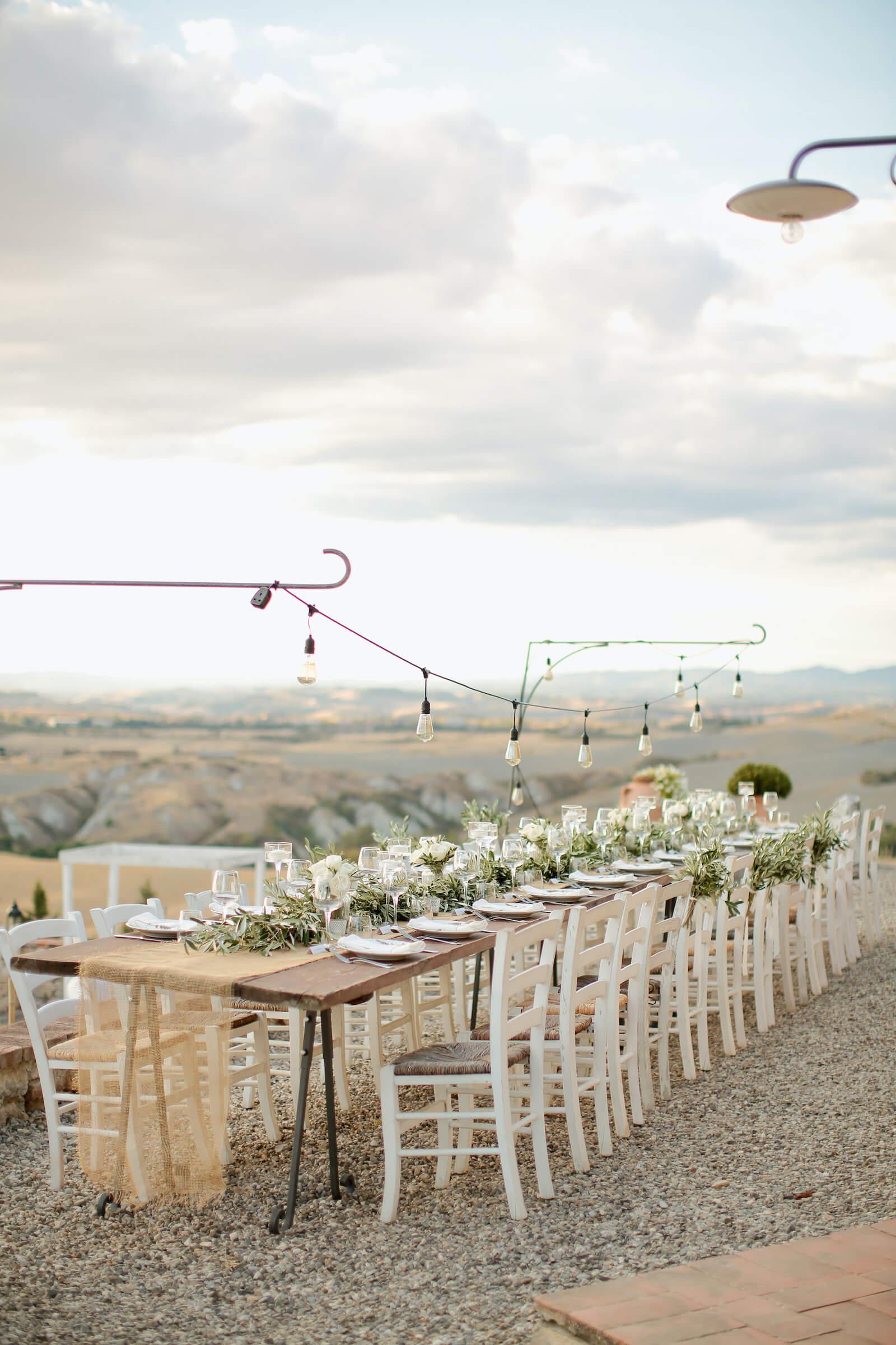 Décoration de table pour un mariage à l'Italienne